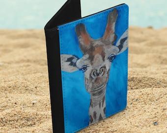 Giraffe vegan leather passport holder, blue wildlife passport cover, animal lover travel gift, faux leather travel document wallet