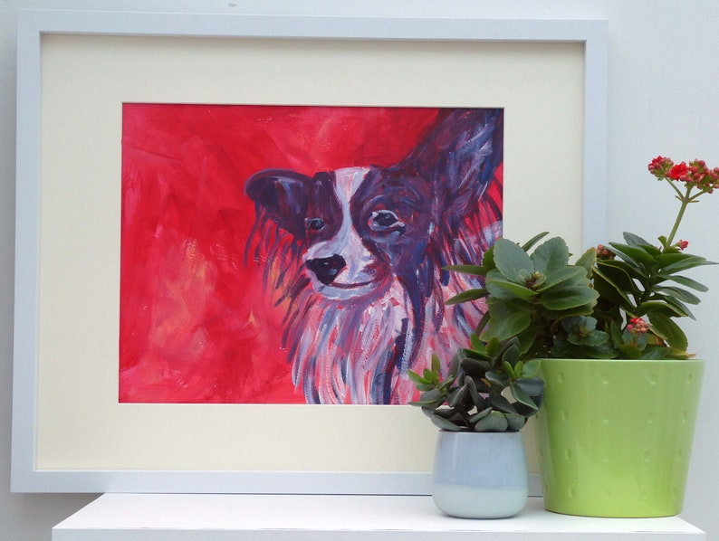 Papillon dog acrylic painting, red living room wall decor for dog lover, large modern animal artwork