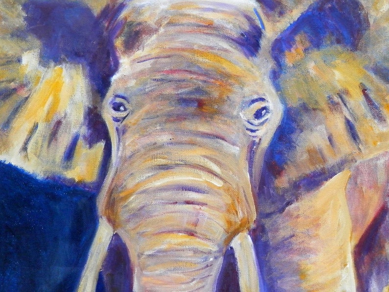 Purple And Yellow Elephant Art Print Lover Birthday