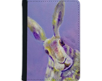 Hare faux leather passport cover, purple rabbit passport holder, travel gift for animal lover, vegan leather holiday document wallet