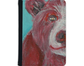 Faux leather passport cover, red bear art passport holder, travel accessory gift for animal lover, vegan leather holiday document wallet