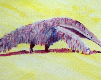 Anteater print in purple with light yellow background - ant eater art - anteater illustration - aardvark gift - yellow and purple home decor