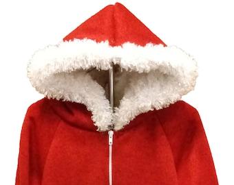 Furry hoodie, Red hoodie, White fur hoodie, Hoodie with pockets, Hoodie with zipper