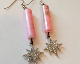 Pink Glass drop earring with Gemstone Star