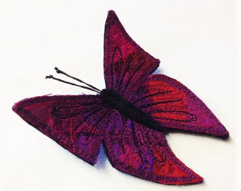 Silk butterfly brooch, pink butterfly, OOAK, fibre art, broach, butterfly, pin, silk butterfly, insect brooch, entomology gift, gift for her