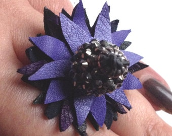 Flower ring, purple and black, leather flower ring,leather ring, one of a kind, gothic ring,  gift for her, unique ring, statement ring, (9)