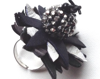 Black and white, flower ring, leather ring, monochrome ring, leather flower,  unique ring, leather jewellery, one of a kind, gift for her, 8