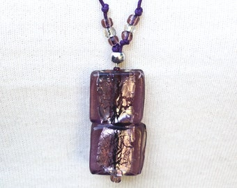 Purple necklace, Murano glass, double cube,square, drop pendant, 28 inch necklace, beaded necklace, Murano jewellery, one of a kind, (87)