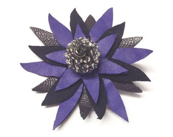 LILAC FLOWER BROOCH/ leather flower brooch/ lilac flower broach/ flower pin/ One of a kind/ scarf pin/ wedding corsage/ gift for her