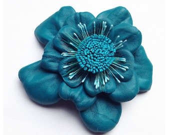 Flower Brooch, Leather flower, teal, turquoise flower, leather brooch, wedding corsage, flower corsage, flower pin, gift for her (lf61)