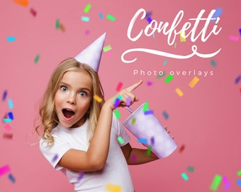 30 Confetti Overlays, Photoshop Overlays, Wedding ,Birthday, Party, Digital Backdrop, Blowing Confetti, Glitter ,colorful,gold confetti, PNG