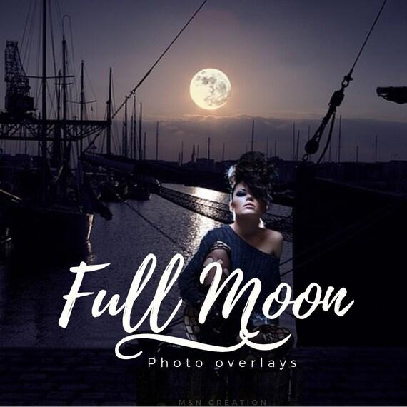 7 Full Moon Overlays Photoshop Overlays Night Sky Overlays