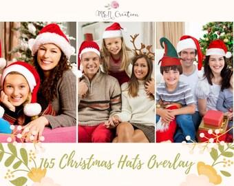 165 Christmas Hats Overlays, Photoshop Overlays, Santa hat, Christmas Hats,  Reindeer Antlers, Christmas Overlays, Santa Hats, Holiday PNG