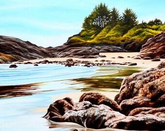 "Beach print, 11x14 inch matted print from original painting ""Cox Bay Kelp and Rocks"" by Sheryl Sawchuk"