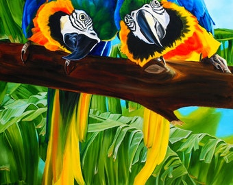 """Parrots print, 8x10 inch matted print from original oil painting """"Treetop Conversation"""" by Sheryl Sawchuk"""