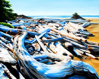 """beach print, 8x10 inch matted print from original oil painting """"Sundrenched Logs"""" by Sheryl Sawchuk"""
