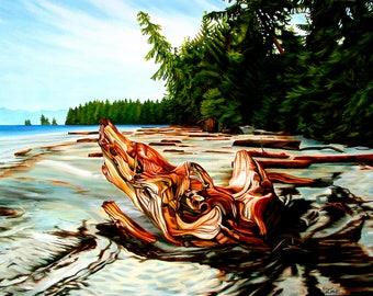 "beach print, 8x10 inch matted print from original oil painting ""Driftwood Spirits"" by Sheryl Sawchuk"