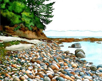 """Rocks print, 11x14 inch matted print from original watercolour painting """"West Coast Trail Rocks - Shaped by Time"""" by Sheryl Sawchuk"""