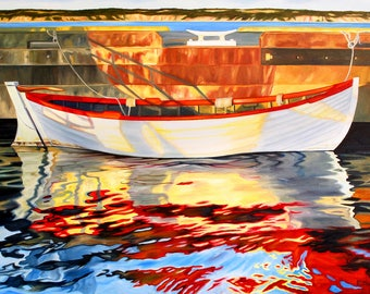 """boat print, 8x10 inch matted print from original oil painting """"Reflecting on the Day"""" by Sheryl Sawchuk"""