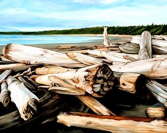 "Beach print, 8x10 inch matted print from original oil painting ""Driftlogs on the Beach"" by Sheryl Sawchuk"