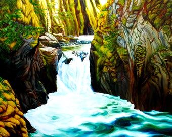 """Waterfall art, 8x10 inch matted print from original oil painting """"In the Heart of Paradise"""" by Sheryl Sawchuk"""