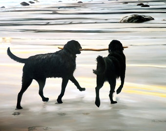 """Dogs print, 8x10 inch print from original oil painting """"The Great Adventure"""" by Sheryl Sawchuk"""