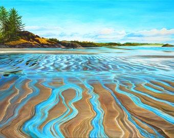 "Beach print, 8x10 inch matted print from original oil painting ""Long Beach"" by Sheryl Sawchuk"