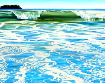 """Ocean print, matted 8x10 inch print from original oil painting """"Waves"""" by Sheryl Sawchuk"""