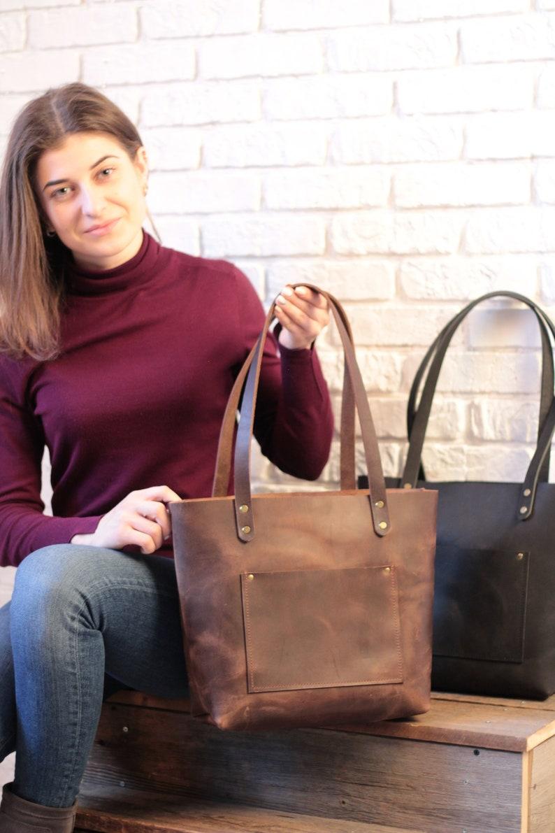 TOTE bag Leather tote bag Shoulder tote bag Handmade bag Tote bags for women Leather tote bags with zipper Best tote bags Chocolate tote