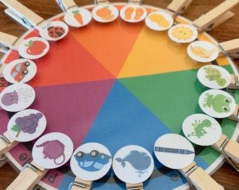 Preschool Color Matching Game Wheel, Teaching Kids Colors Activity, Homeschool Printable, Fine Motor, Preschool Curriculum, Busy Binder Game
