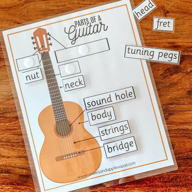 Guitar Parts Printable Memory Game, Learning Guitar, Beginner Acoustic  Guitar, Kids Music Activity, Learn To Play Guitar, Label Guitar Parts