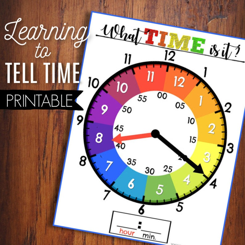 Learn To Tell Time, Printable Clock, Kids Learning Game, Homeschool  Activity, Educational Clock, Teaching Tool, Busy Binder Game, School