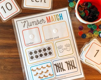 Numbers 1-10 Matching, Number Sense, Counting Activity, Preschool Math, Learn To Count, Number Recognition, Homeschool Game, Busy Binder Toy