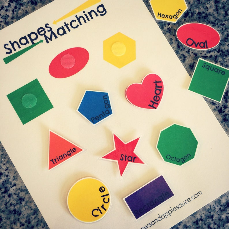 Learning Shapes Shape Matching Game Educational Preschool Etsy