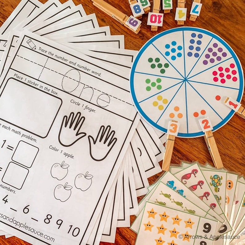 photograph about Printable Numbers 1-10 referred to as Quantities 1-10 Printable Math Offer, Preschool Kindergarten Math Things to do, Counting Worksheets, Quantity Clip Playing cards, Selection Matching Wheel