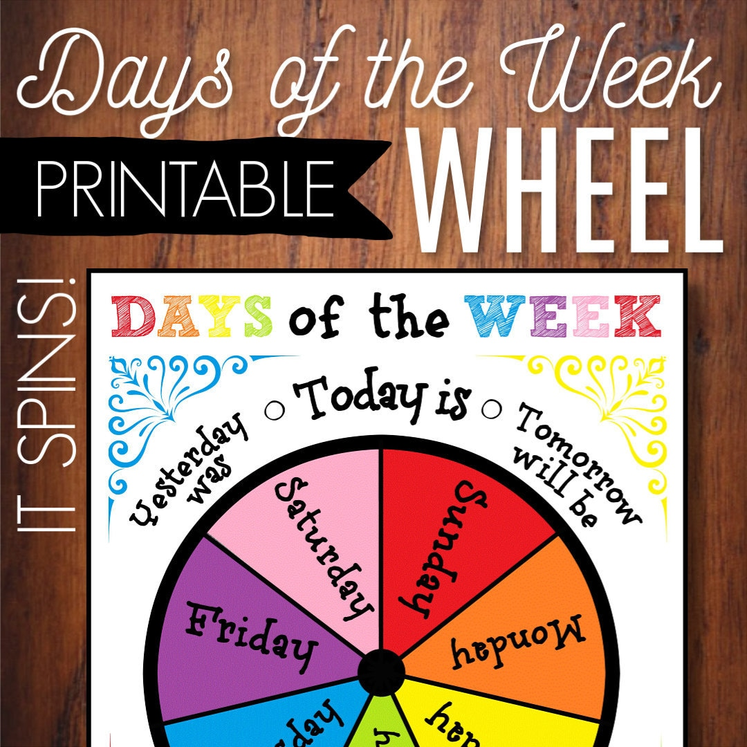 Soft image throughout days of the week printable