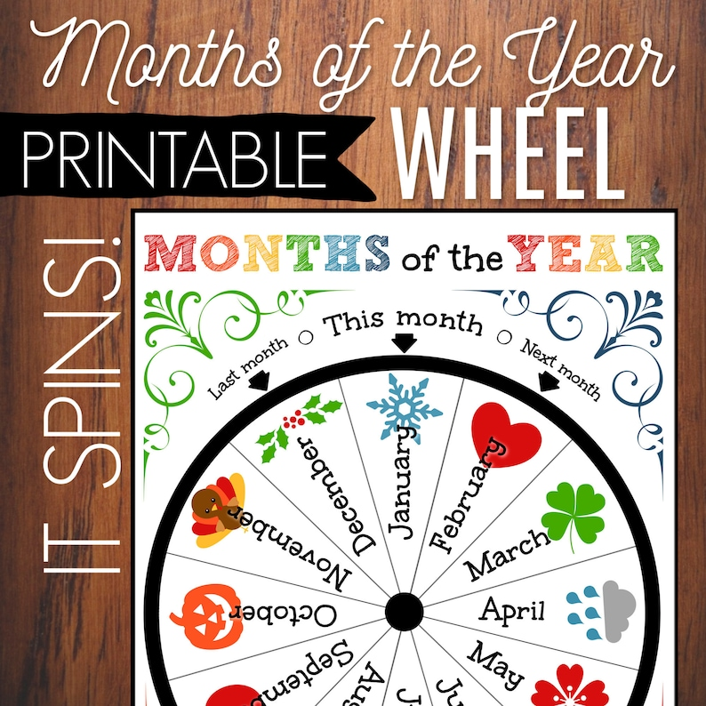 image relating to Months of the Year Printable named Weeks Of The Calendar year Printable Wheel, Small children Circle Season Match, Clroom Decor, Clroom Calendar, Homeschool Printable, Month to month Calendar,