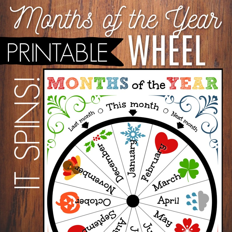 graphic about Printable Classroom Calendar referred to as Weeks Of The Yr Printable Wheel, Young children Circle Year Recreation, Clroom Decor, Clroom Calendar, Homeschool Printable, Regular Calendar,