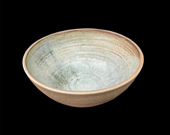 Deep Serving/Salad Bowl 21.5 cms x 9cms.  Glaze grey/Blue internal unglazed external.