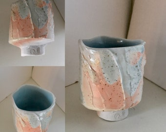 Free delivery in Australia. One only Tiny Porcelain Drinking vessel, Soda Fired. Very Petite.