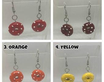 Tan Donut Polymer Clay Earrings