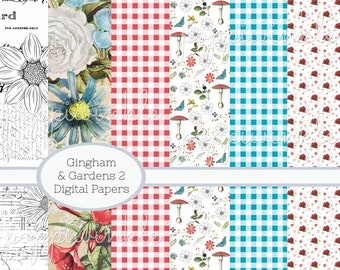 Gingham and Gardens2 Digital Papers Floral Black and White Checkered Printable