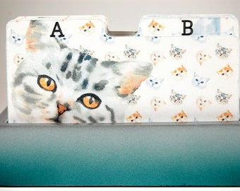 Rolodex Divider Cards - One Letter Per Card - Kitty Cats