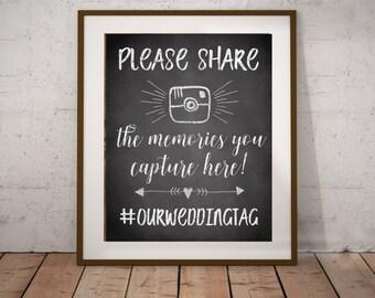 Wedding Hashtag Sign - Chalkboard Sign - Customized - Printable JPG Wedding Sign - Share Your Photos Using Hashtag - Multiple Sizes Included