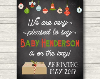 Christmas Pregnancy Announcement - Chalkboard Sign or Card - Customized - Printable JPG Photo Prop - Gender Neutral - We're Expecting Card