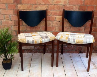 SOLD Set of 4 G Plan Fresco Vintage Dining Chairs. Refinished and Reupholstered. Retro Mid Century Style