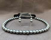 Grey Glass Pearl 18th Century Reproduction Necklace and Earrings Set