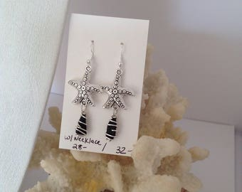 Starfish and black sea glass wire wrapped earrings