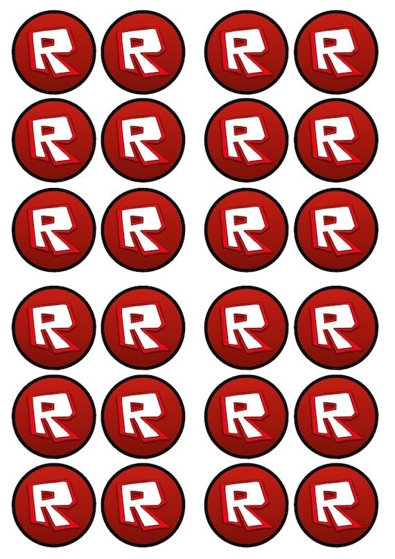 roblox logo edible wafer rice paper cake cupcake toppers x 24 etsy