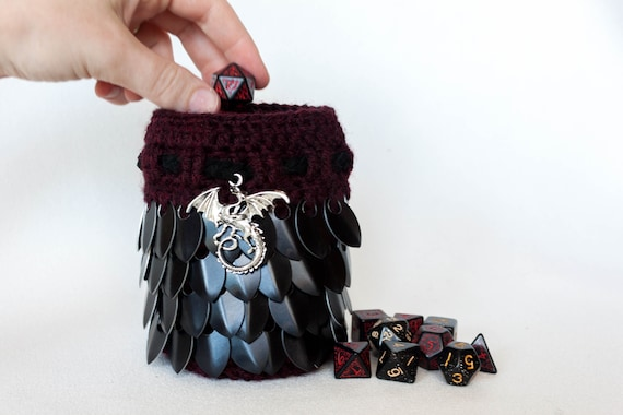 d d dice bag red and black dragon scalemail pouch etsy